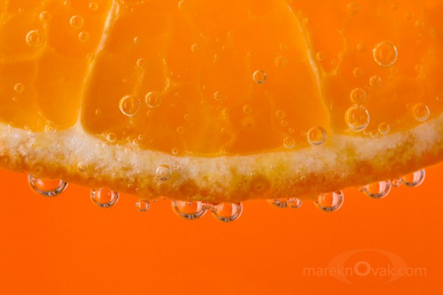 tangerine in bubbles