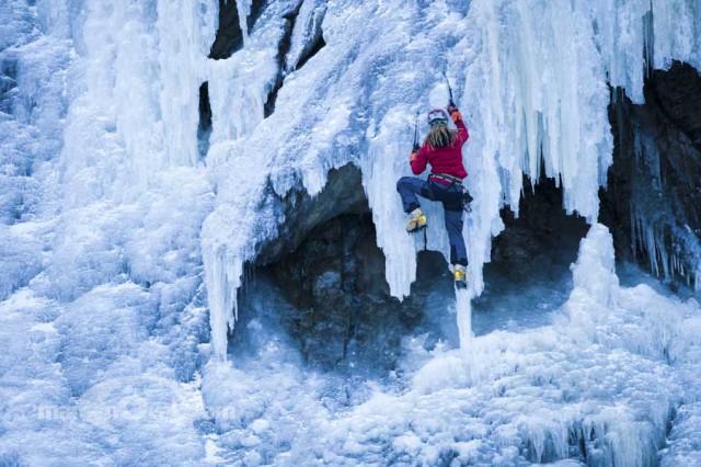 Climber on icefall